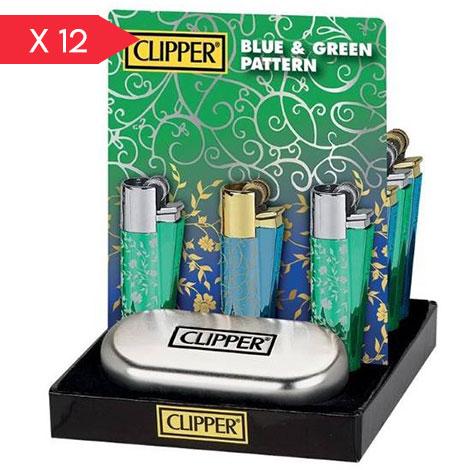 CLIPPER LARGE METAL BLU E GREEN PATTERN